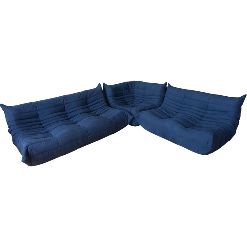 Vintage set of 3 Togo sofas by Michel Ducaroy for Ligne Roset in blue microfiber, 1970s