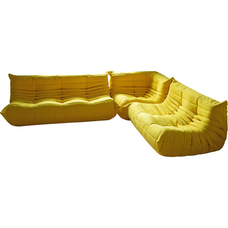 Vintage set of 3 Togo sofas by Michel Ducaroy for Ligne Roset in yellow microfiber, 1970s