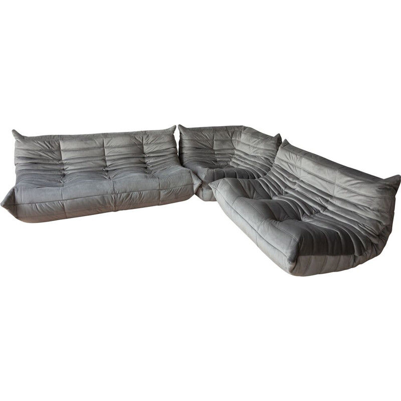 Vintage set of 3 Togo sofas by Michel Ducaroy for Ligne Roset in grey velvet, 1970s