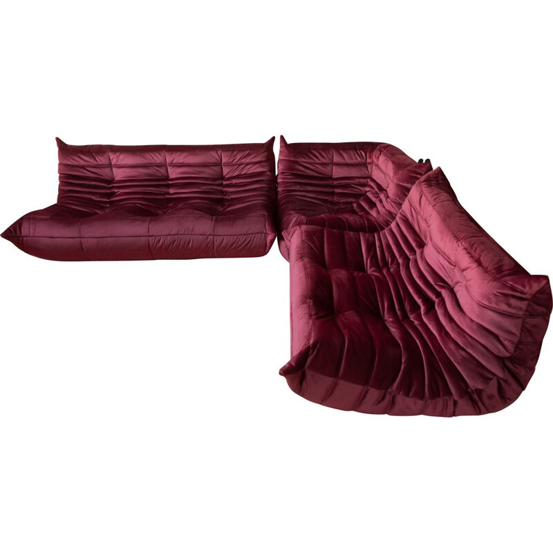 Vintage set of 3 Togo sofas by Michel Ducaroy for Ligne Roset in burgundy velvet, 1970s