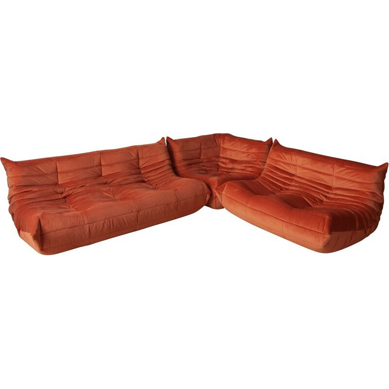 Vintage set of 3 Togo sofas by Michel Ducaroy for Ligne Roset  in orange velvet, 1970s