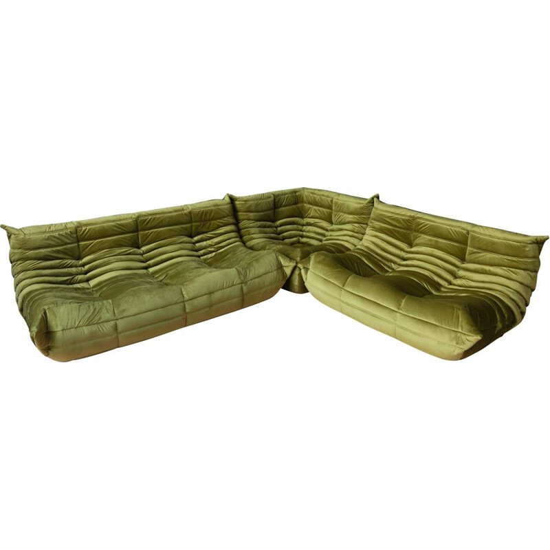 Set of 3 vintage Togo sofas for Ligne Roset in green velvet, 1970s