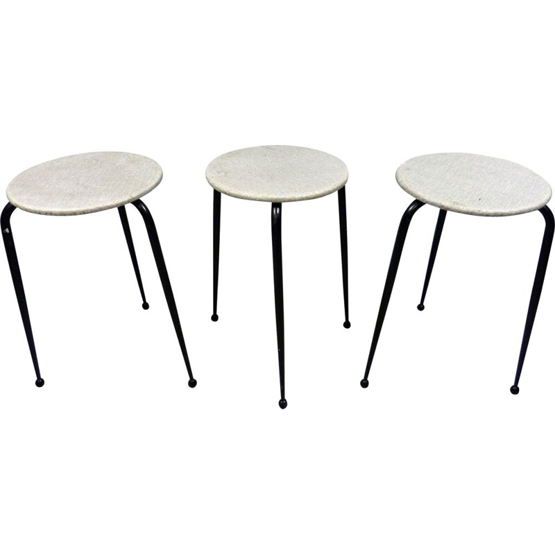 Set of 3 vintage stackable iron stools Netherlands 1950s