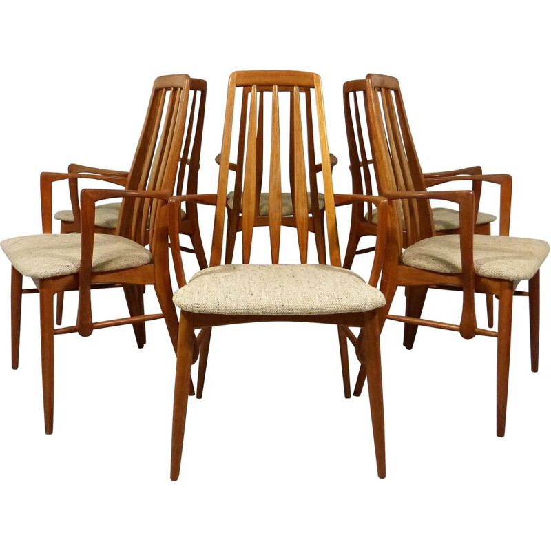 Set of 6 vintage dining chairs Eva by Niels Koefoed for Hornslet Denmark, 1960s