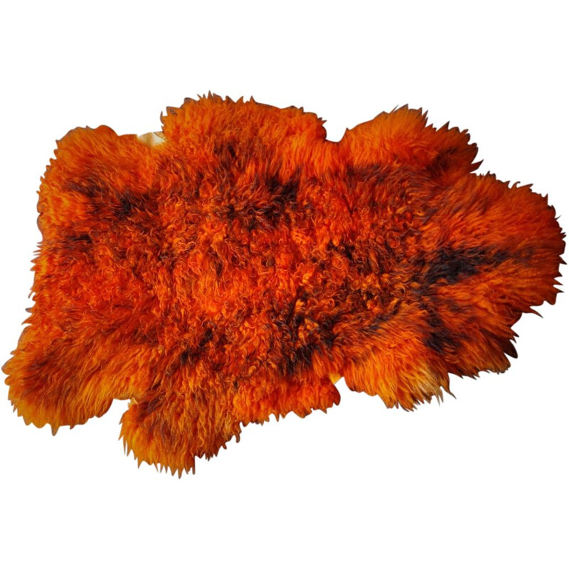 Vintage german orange carpet in sheepskin 1960s