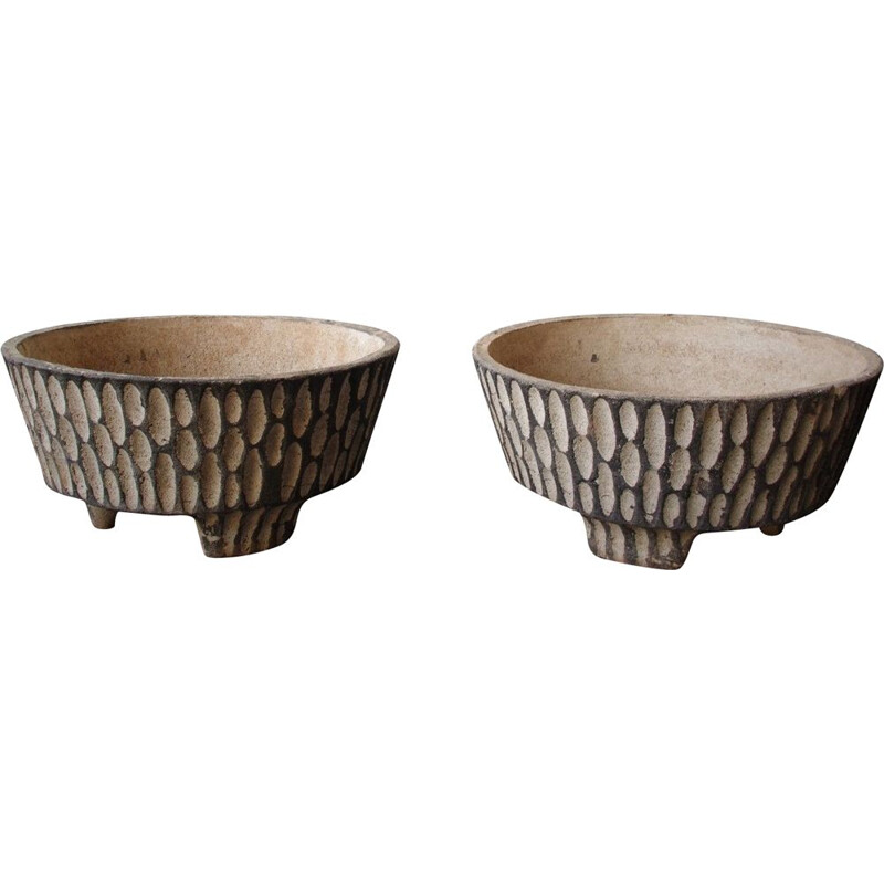 Pair of vintage concrete planters 1970s