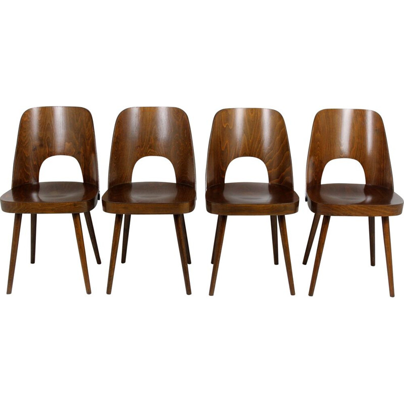 Set of 4 vintage No. 515 chairs for TON in wood 1950s