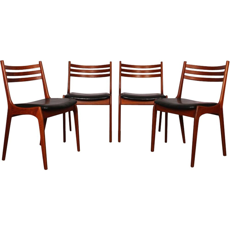 Set of 4 vintage scandinavian chairs in black leatherette 1960s