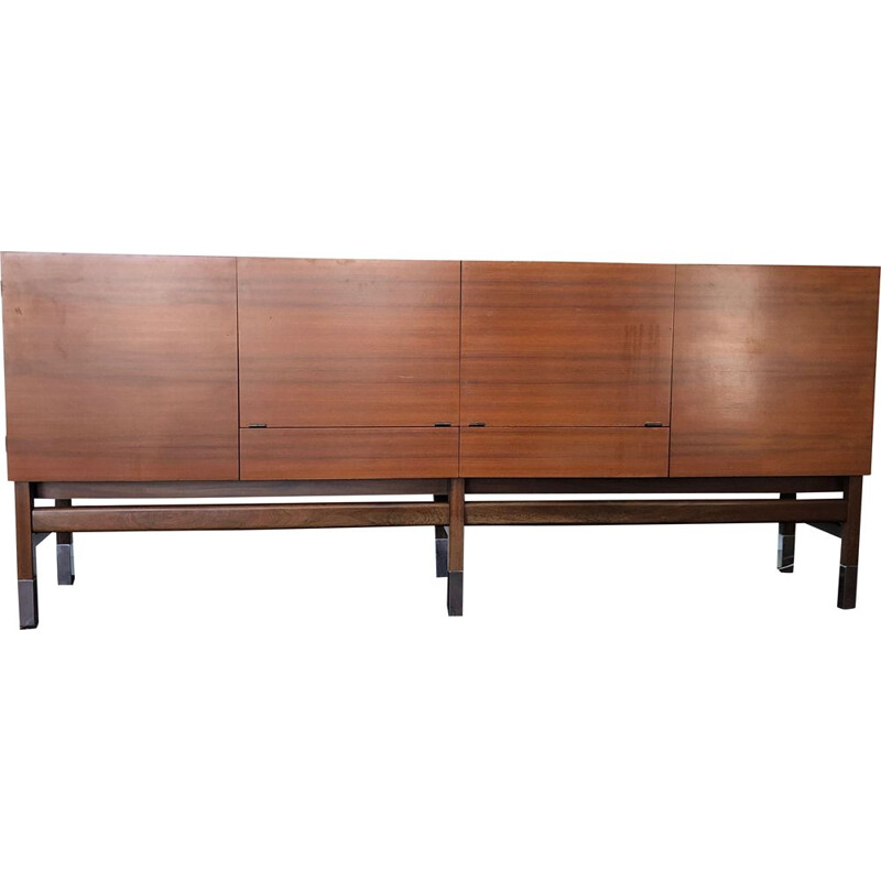 Vintage Prestige sideboard for Huchers-Minvielle in Rio rosewood and chrome metal 1960