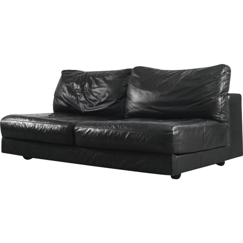 Vintage italian sofa for Natuzzi in black leather 1950s
