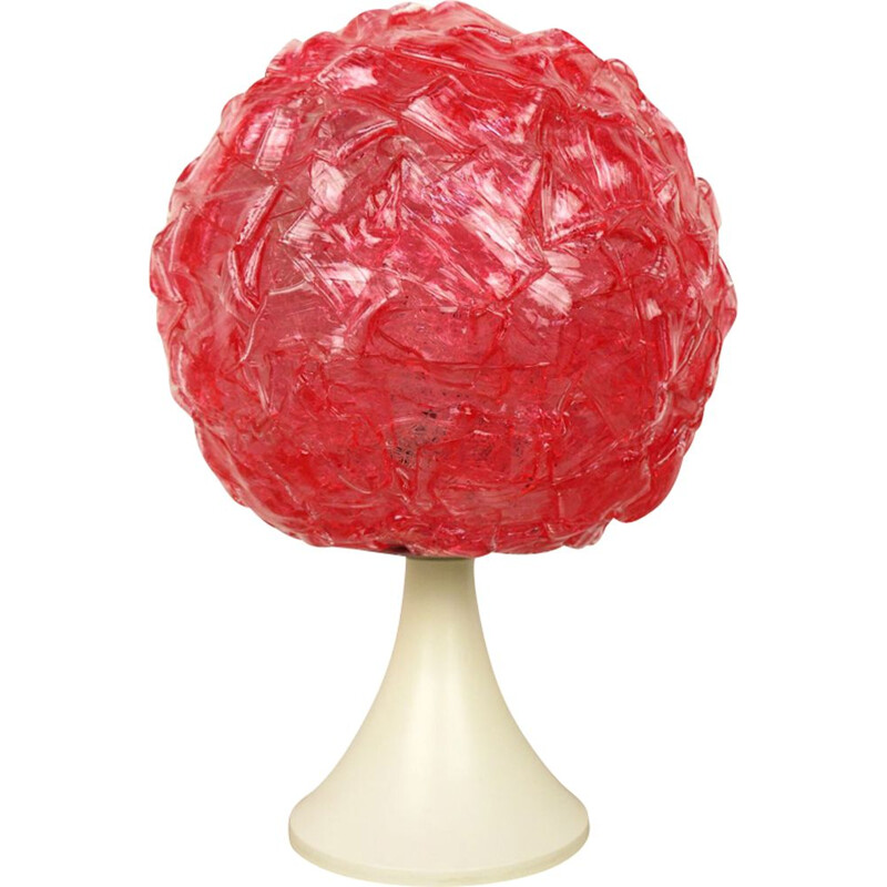 Vintage german table lamp in plastic and raspberry color 1970s