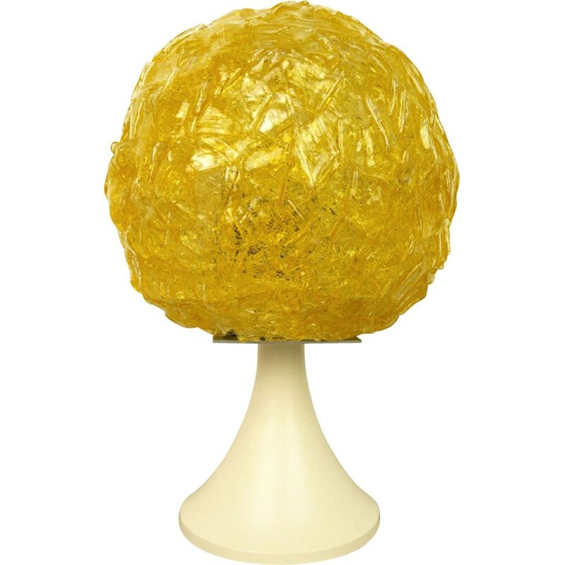 Vintage german table lamp in yellow plastic 1970s