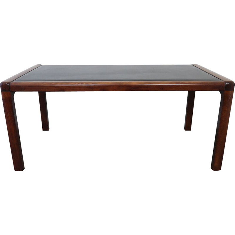 Vintage table in mahogany with leather cover, Germany, 1970s