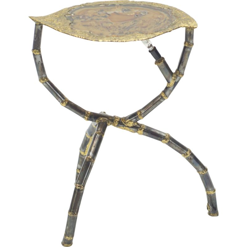 Vintage side table brass sculpture by Henri Fernandez for Maison Honoré 1970