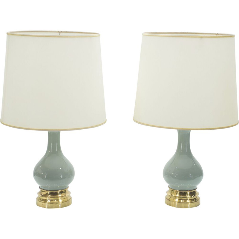 Pair of vintage bedside lamps in ceramic and brass 1960