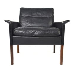 C.S. Mobler black leather and rosewood easy chair, Hans OLSEN - 1950s