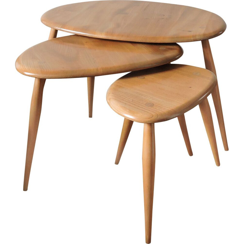 Vintage nesting tables Pebble by Lucian Ercolani for Ercol, 1960s