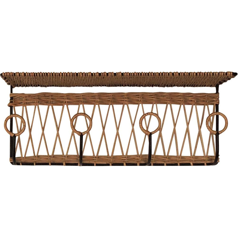 French iron and willow vintage Coat Rack, 1940s