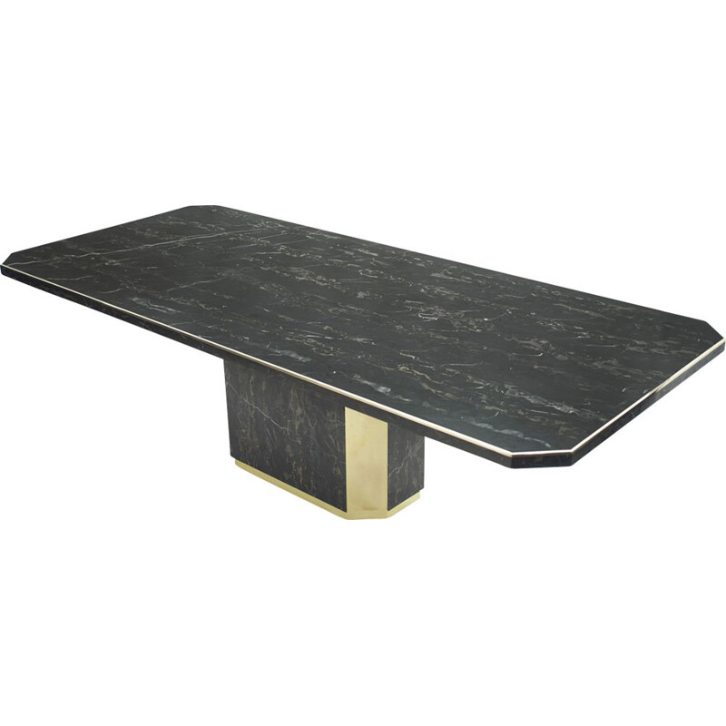 Large brass portor marble table J.C Mahey