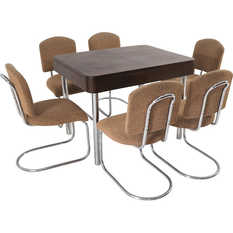 Vintage chrome dining table & 6 chairs set from Hynek Gottwald, 1930s