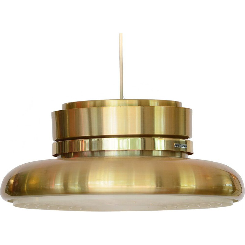 Gold aluminium vintage pendant light by Carl-Thore for Granhaga Metall, Sweden, 1970s