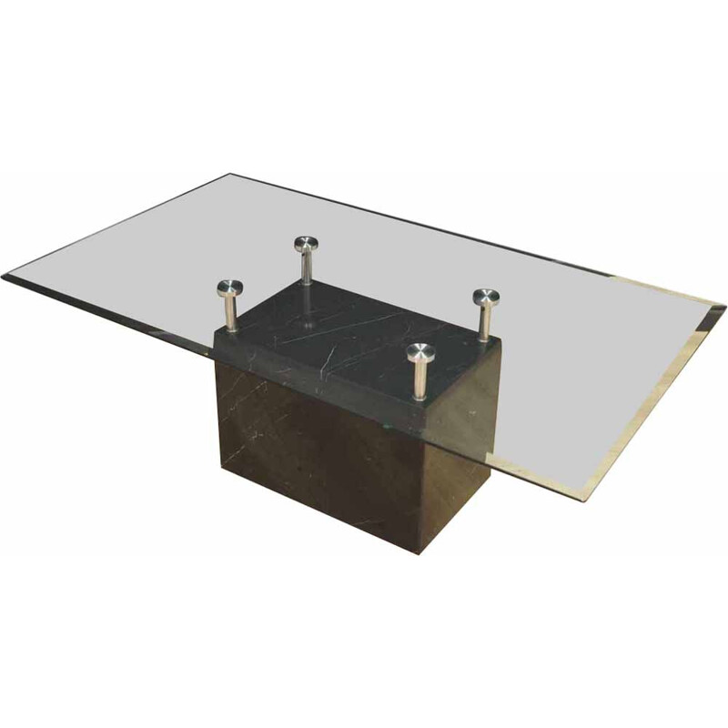 Vintage marble and glass coffee table, 1960