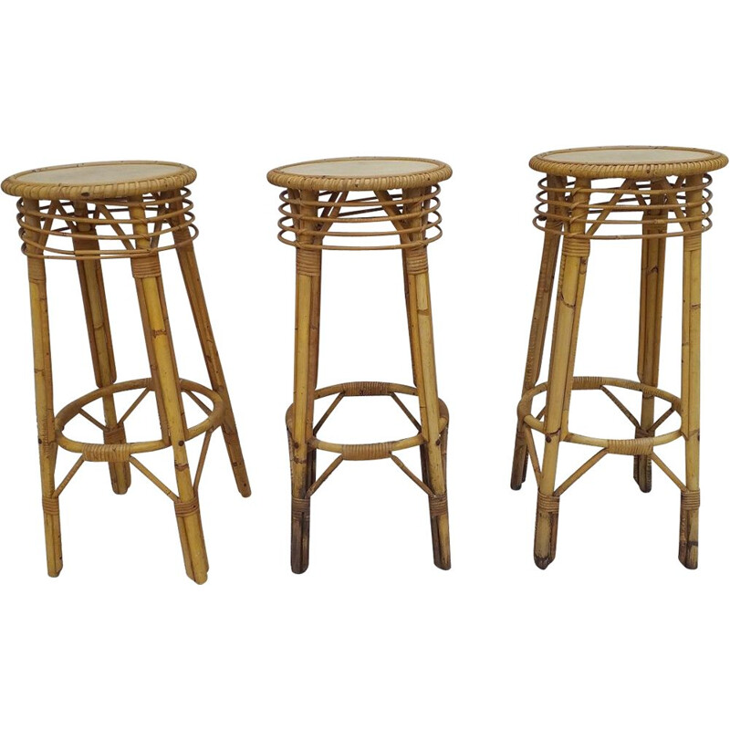 Suite of 3 vintage bar stools in rattan 1970s