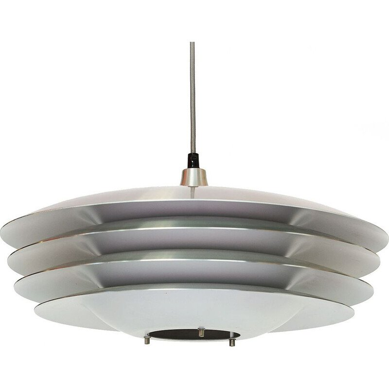 Layered pendant light in thick brushed aluminium, Denmark 1970s