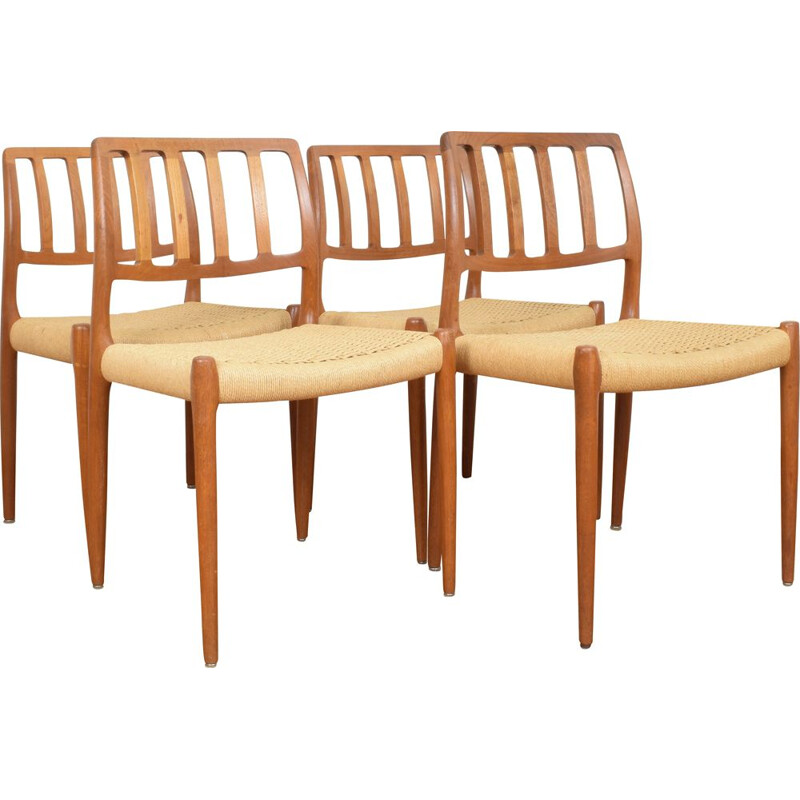Mid-Century Model 82 Chair by Niels Otto (N. O.) Møller for J.L. Møllers, 1960s, Set of 4