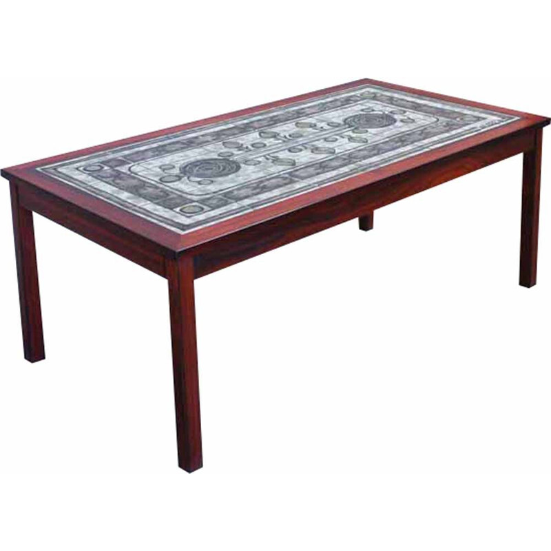 Vintage Coffee Table in Rosewood and Tiles, 1976