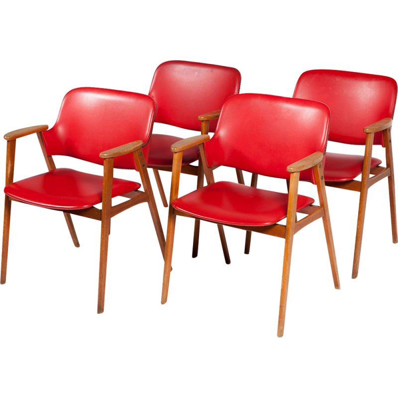 Vintage set of 4 Dining Chairs red by Cees Braakman for Pastoe, 1950s