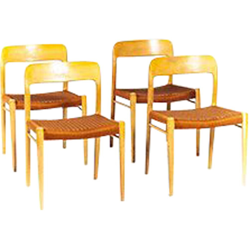 Vintage Set of 4 Chairs No. 75  by Niels Otto Møller for J.L. Møllers, 1960s
