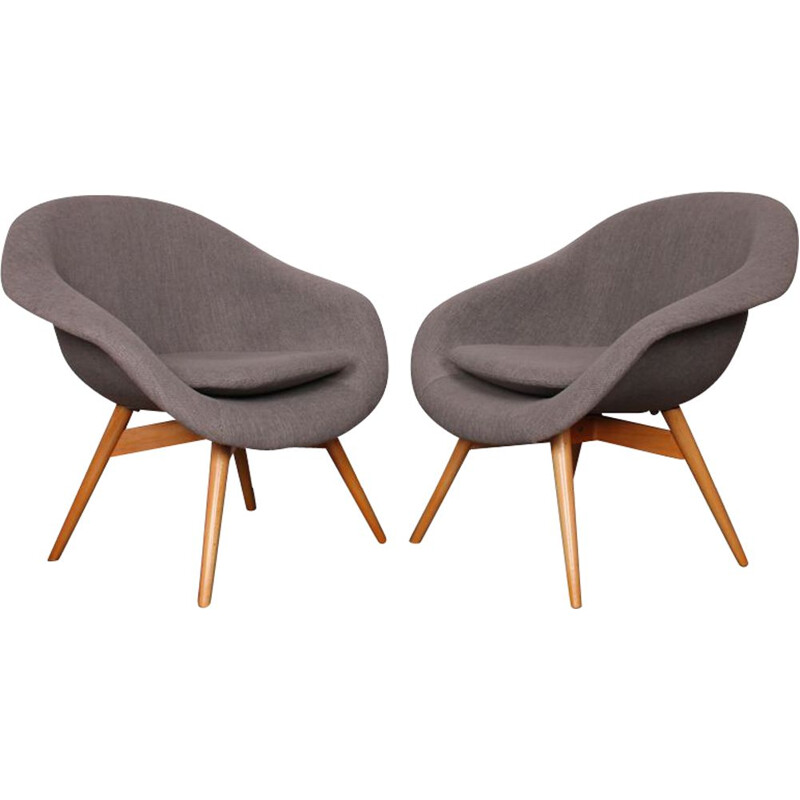 Vintage Pair of Armchairs by Miroslav Navratil for Vertex, 1960s