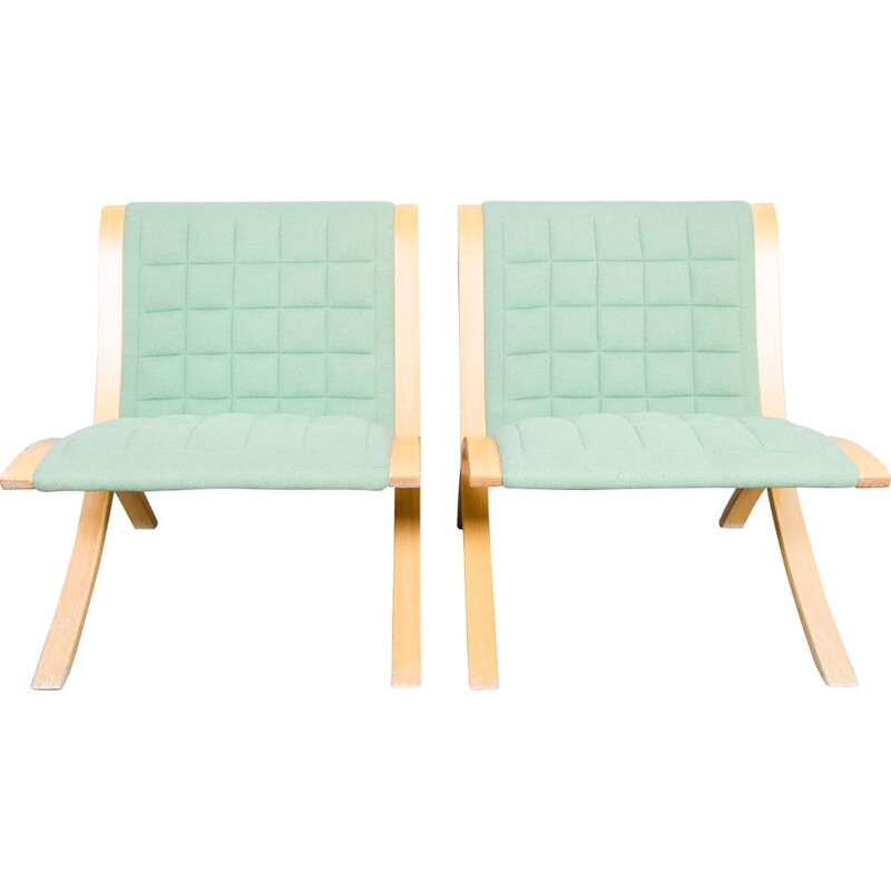 "Set of 2 vintage ""Ax"" chairs by Orla Molgaard & Peter Hvidt for Fritz Hansen, 1970s"