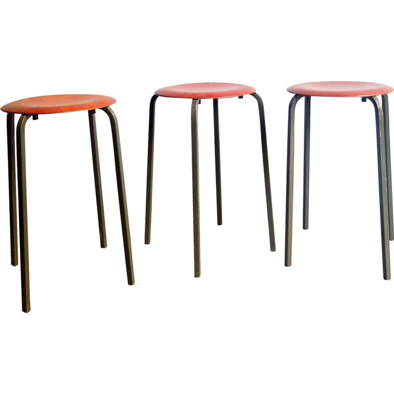 Set of 3 vintage industrial stools, 1950s