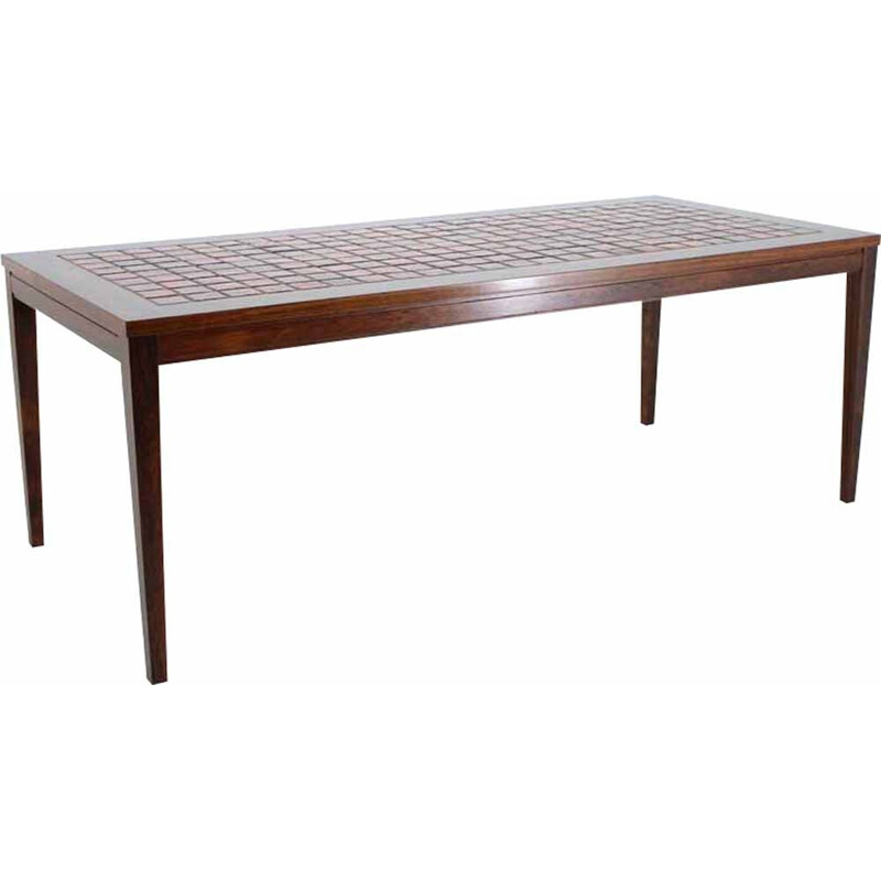 Vintage danish coffee table in rosewood and tile 1960s
