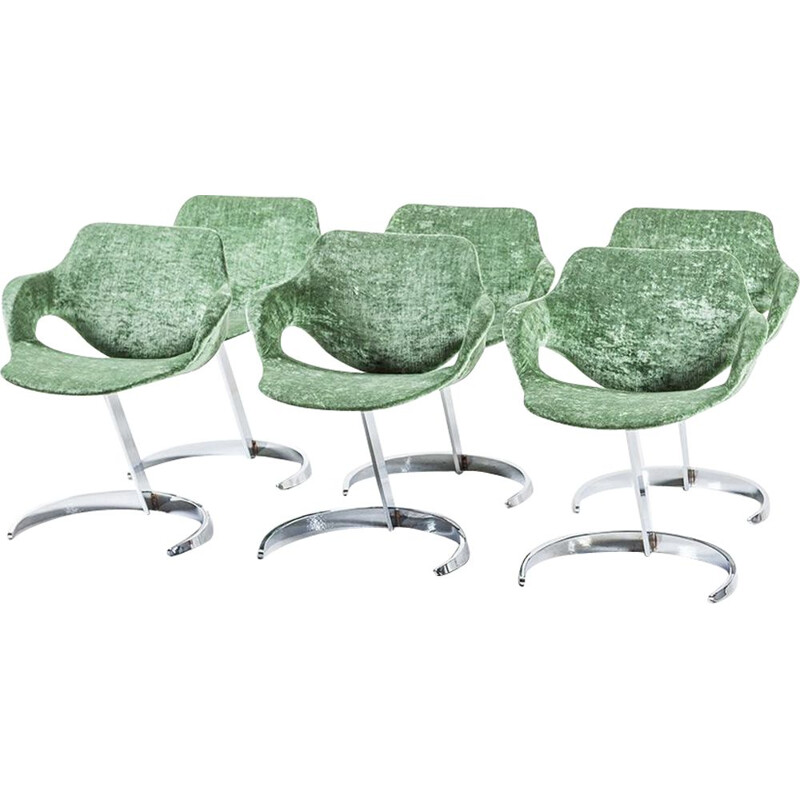 Set of 4 vintage green chairs for Mobilier Modulaire Moderne 1970s