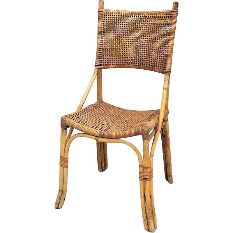 French vintage chair in rattan 1970