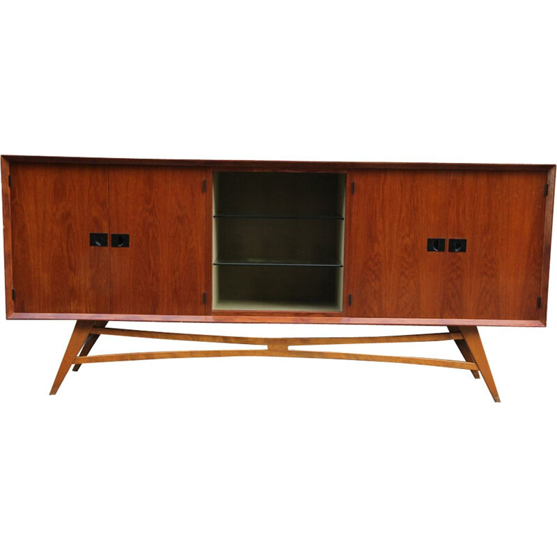 Vintage French teak wood sideboard from the 1950s