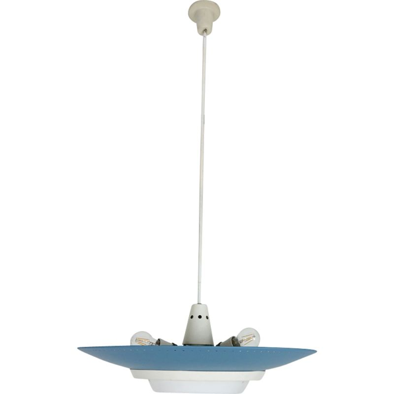 Vintage dutch industrial ceiling lamp for Philips in blue metal 1950s