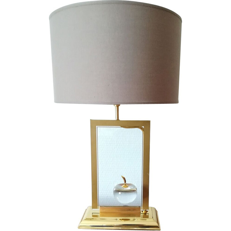 Vintage lamp for Le Dauphin in glass and brass 1970