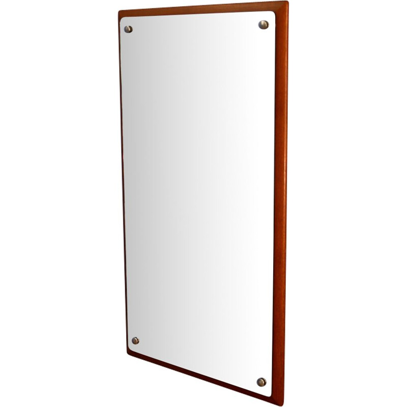 Vintage danish mirror with teak list 1970s