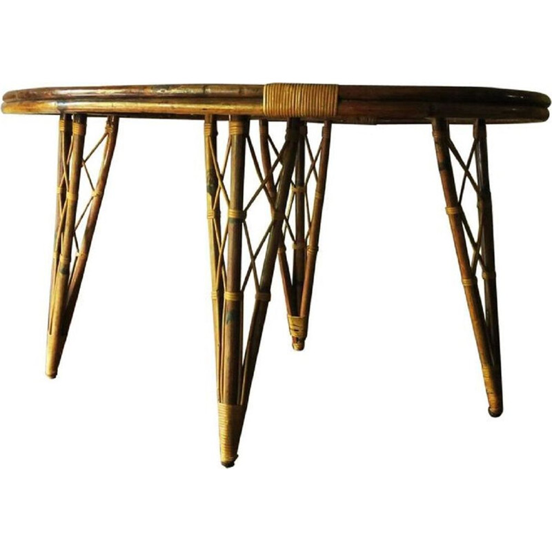 Vintage leaf-Shaped Bamboo Garden Table