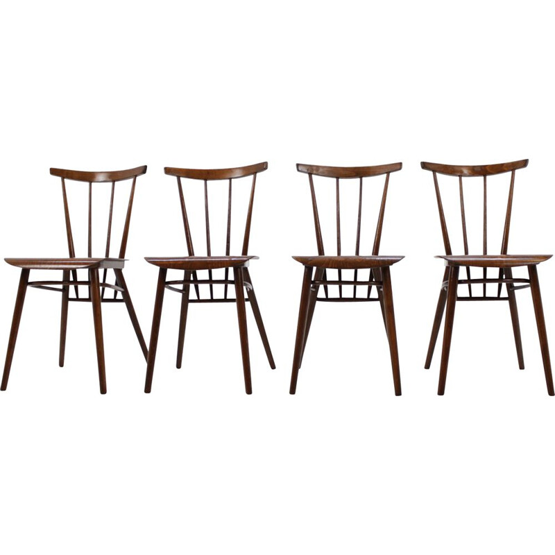 Set of 4 vintage chairs for Tatra in wood 1960