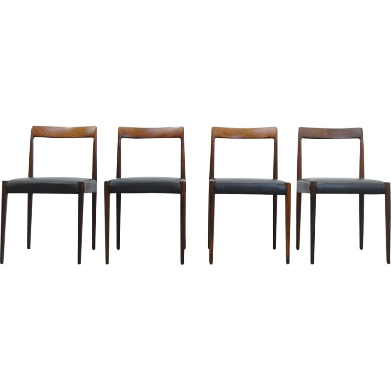 Set of 4 vintage rosewood dining chairs by LÜBKE