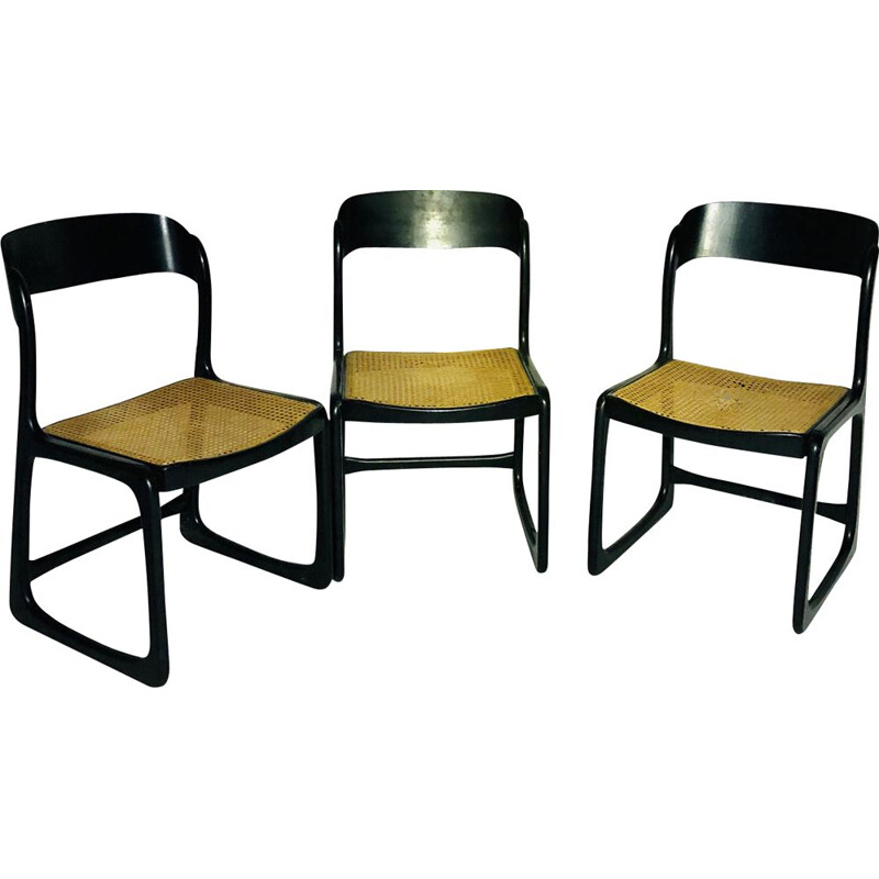 Set of 3 vintage Baumann chairs