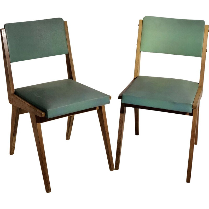 Pair of vintage chairs in skai