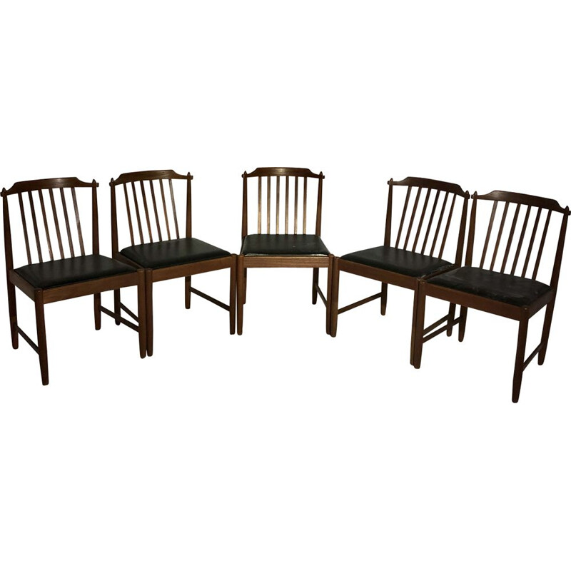 Set of 5 vintage Italian wooden chairs 1960