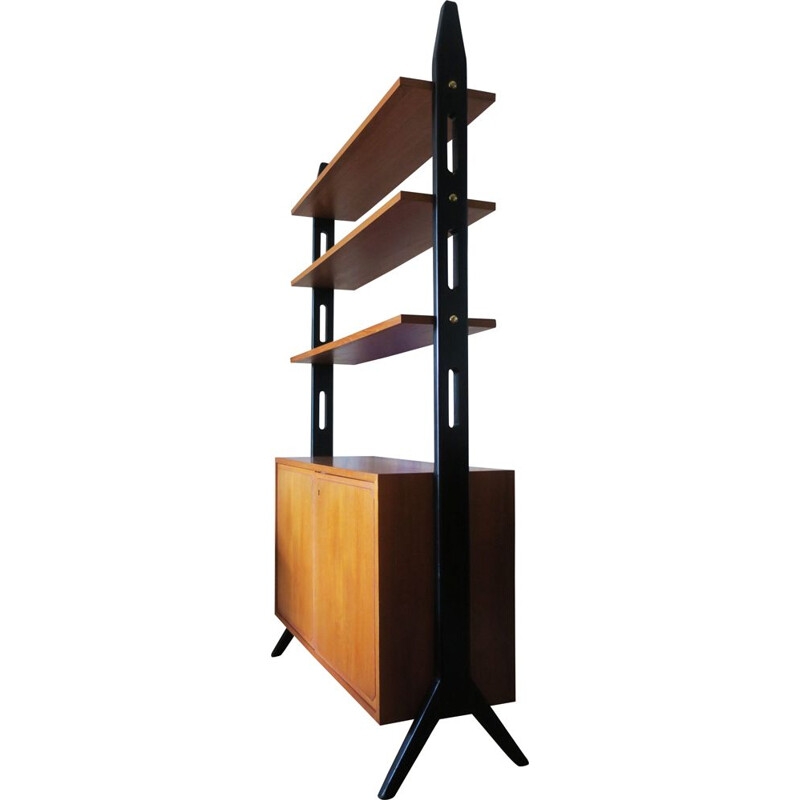 Vintage divider with shelves by Bertil Fridhagen in teak and brass 1950s