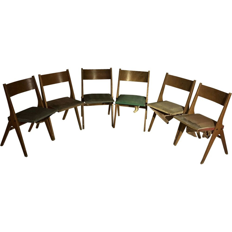 Set of 6 vintage french chairs Caillette 1950